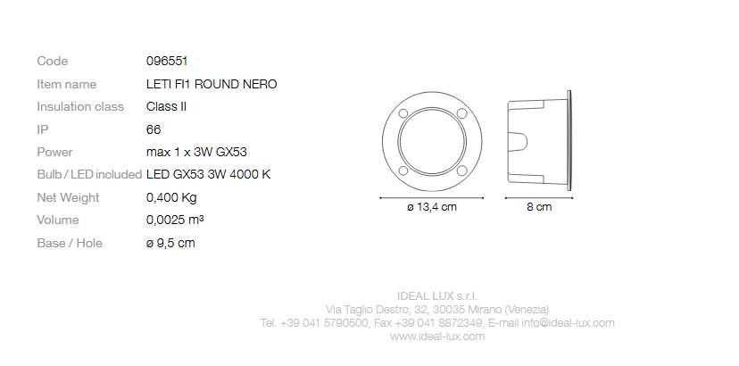 Ideal Lux 096551 Leti PT1 Round Nero beépíthető kültéri lámpa
