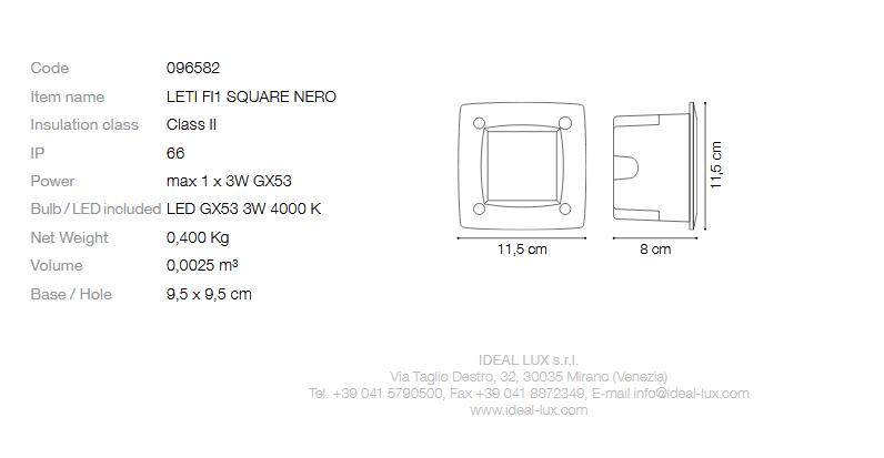 Ideal Lux 096582 Leti PT1 Square Nero beépíthető kültéri lámpa