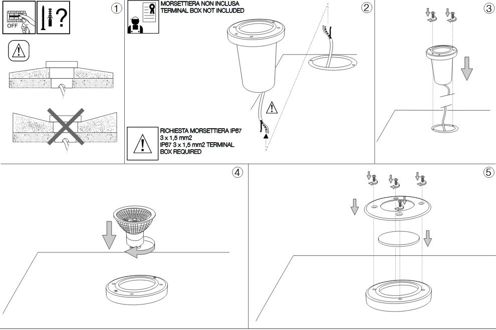 Ideal Lux 032832 Park PT1 Round Small kültéri talajba építhető lámpa