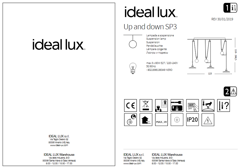 Ideal Lux 136349 UP AND DOWN SB3 NERO lámpa függeszték