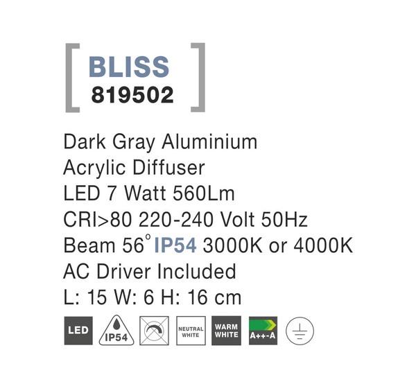 Nova Luce NL-819502 Bliss LED kültéri fali lámpa