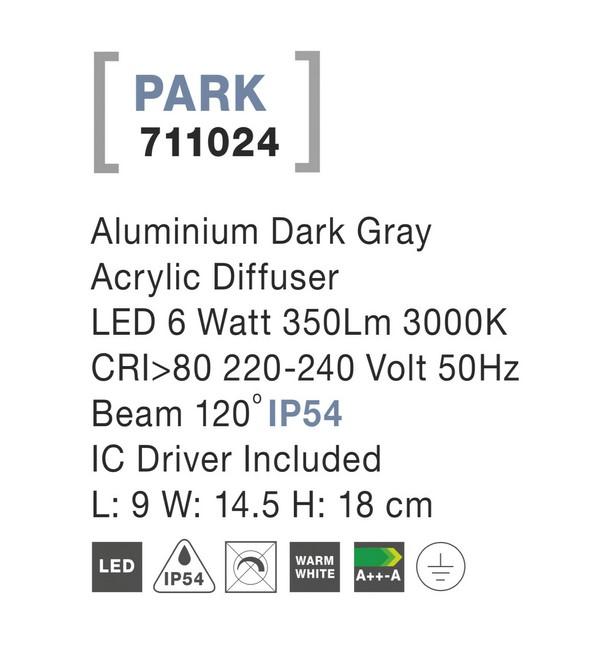 Nova Luce NL-711024 Park kültéri LED fali lámpa