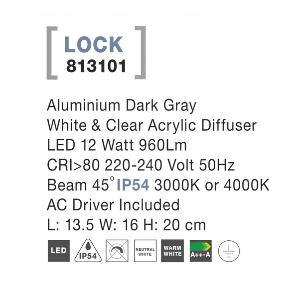 Nova Luce NL-813101 Lock LED kültéri fali lámpa