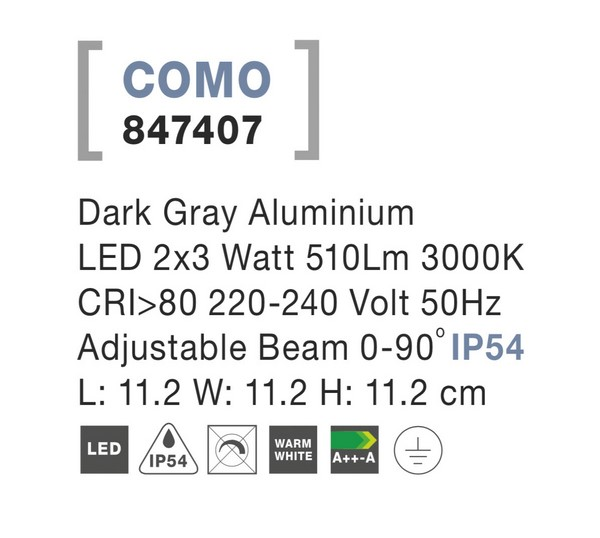 Nova Luce NL-847407 Como LED kültéri homlokzatvilágítás