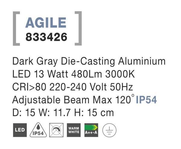 Nova Luce NL-833426 Agile LED kültéri fali lámpa