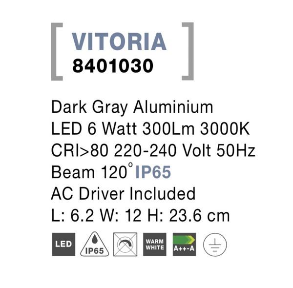 Nova Luce NL-8401030 Vitoria LED kültéri fali lámpa