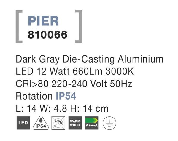 Nova Luce NL-810066 Pier LED kültéri fali lámpa