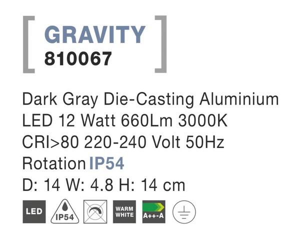 Nova Luce NL-810067 Gravity LED kültéri fali lámpa