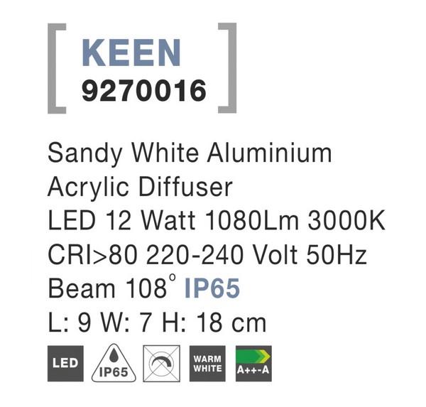 Nova Luce NL-9270016 Keen LED kültéri fali lámpa