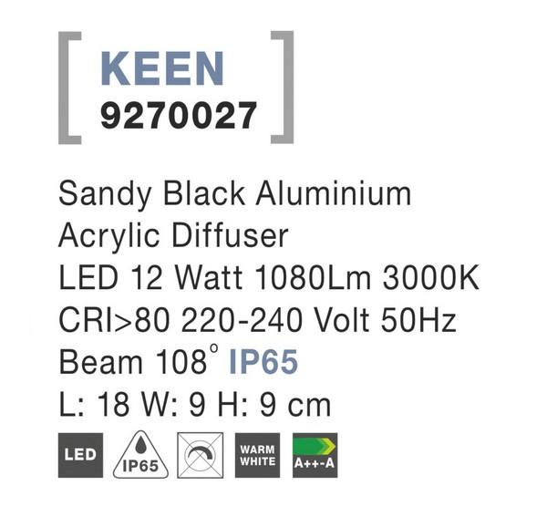 Nova Luce NL-9270027 Keen LED kültéri fali lámpa