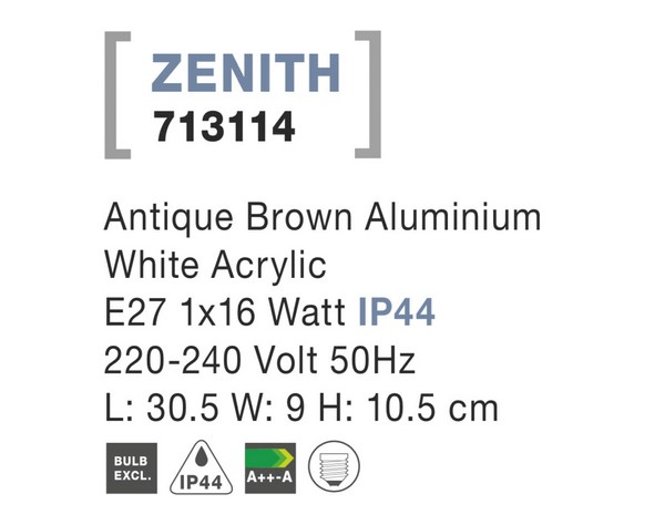 Nova Luce NL-713114 Zenith kültéri fali lámpa