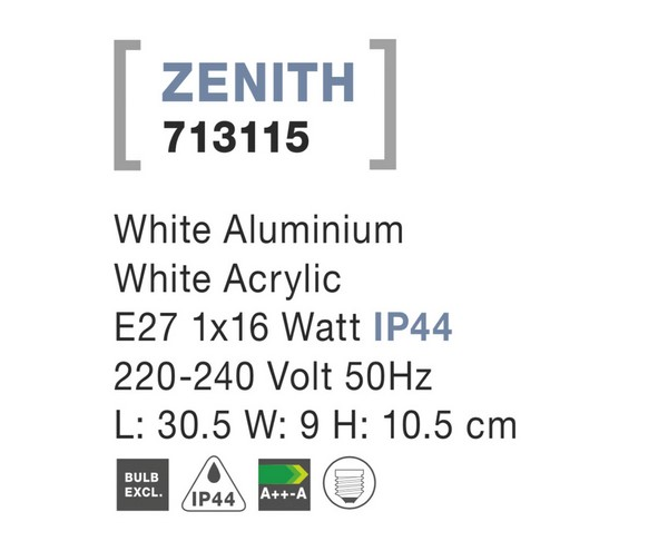 Nova Luce NL-713115 Zenith kültéri fali lámpa
