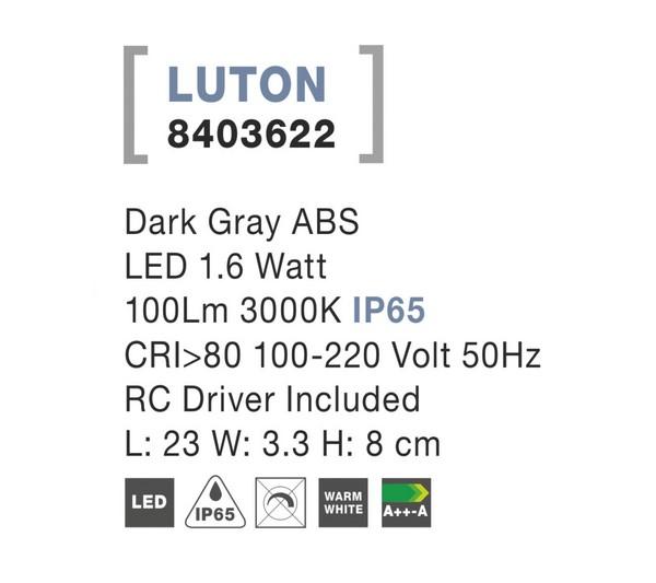 Nova Luce NL-8403622 Luton LED kültéri fali lámpa