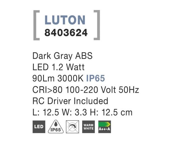 Nova Luce NL-8403624 Luton LED kültéri fali lámpa