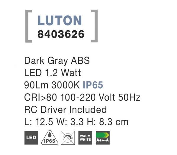 Nova Luce NL-8403626 Luton LED kültéri fali lámpa