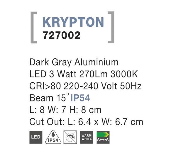 Nova Luce NL-727002  Krypton kültéri beépíthető lámpa / Nova Luce / lámpa