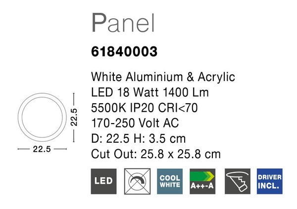 Nova Luce NL-61840003 Led Panels beépíthető lámpa