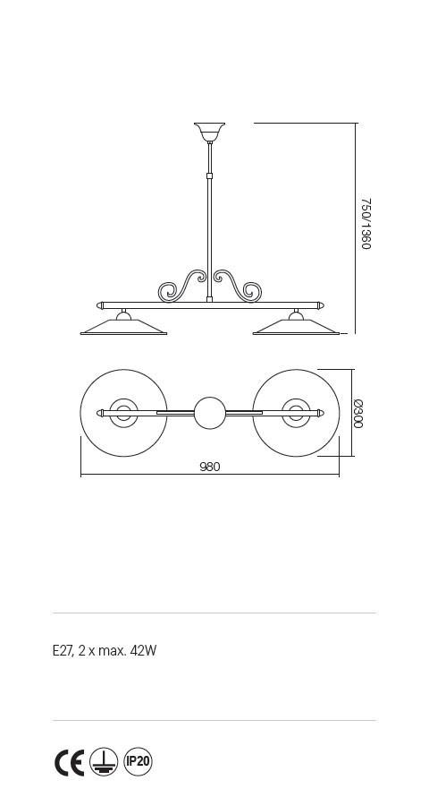 Incanti Lea 02-905+M30BR rusztikus függeszték