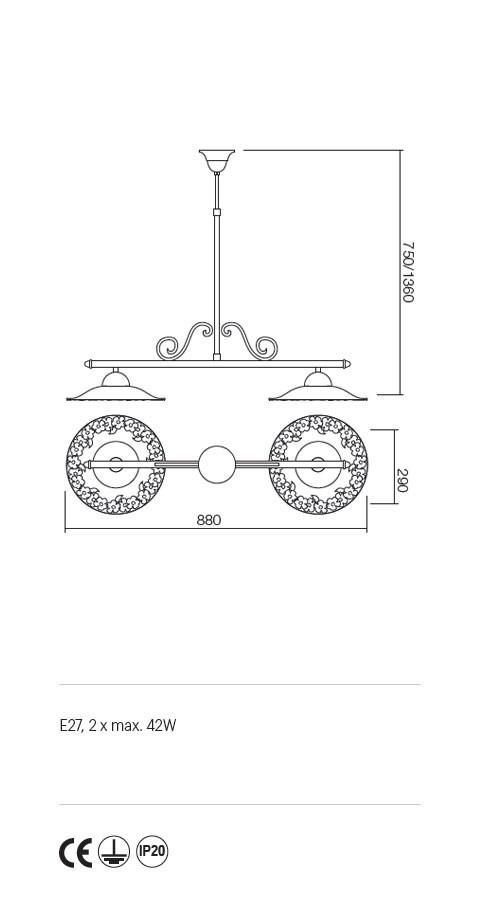 Incanti Lea 02-905+CF29 rusztikus függeszték