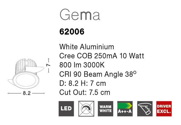 Nova Luce NL-62006 Gema LED beépíthetõ lámpa