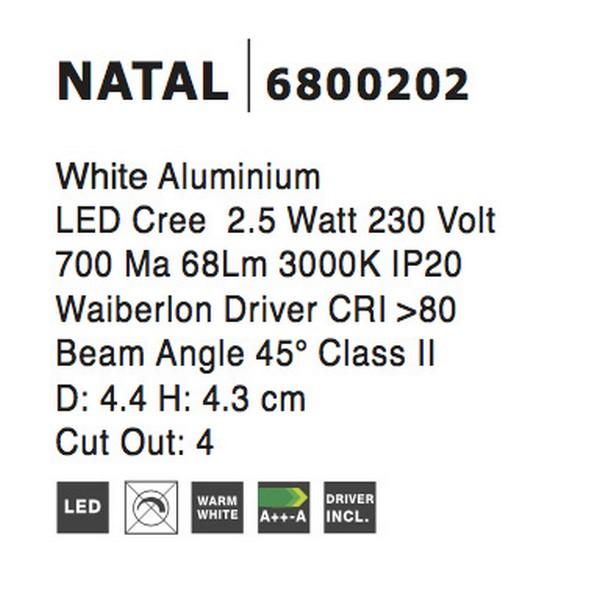 Nova Luce NL-6800202 Natal LED beépíthetõ lámpa