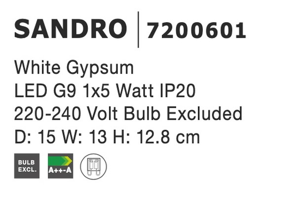 Nova Luce NL-7200601 Sandro fali lámpa