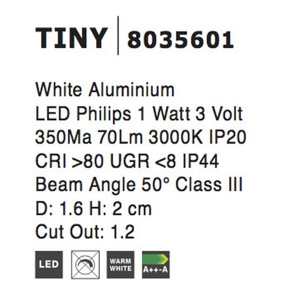 Nova Luce NL-8035601 Tiny beépíthetõ fürdõszobai lámpa
