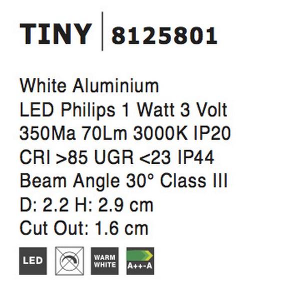 Nova Luce NL-8125801 Tiny beépíthetõ fürdõszobai lámpa