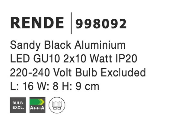 Nova Luce NL-998092 Rende spotlámpa
