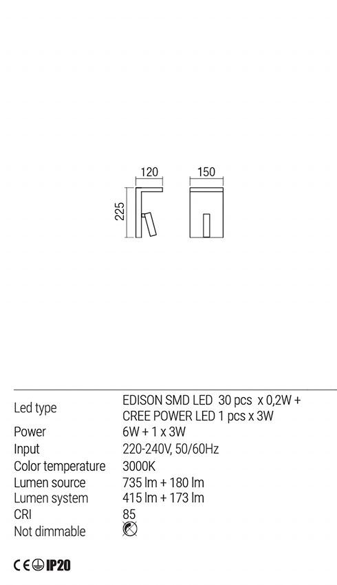 Redo 01-1500 AGOS LED fali lámpa