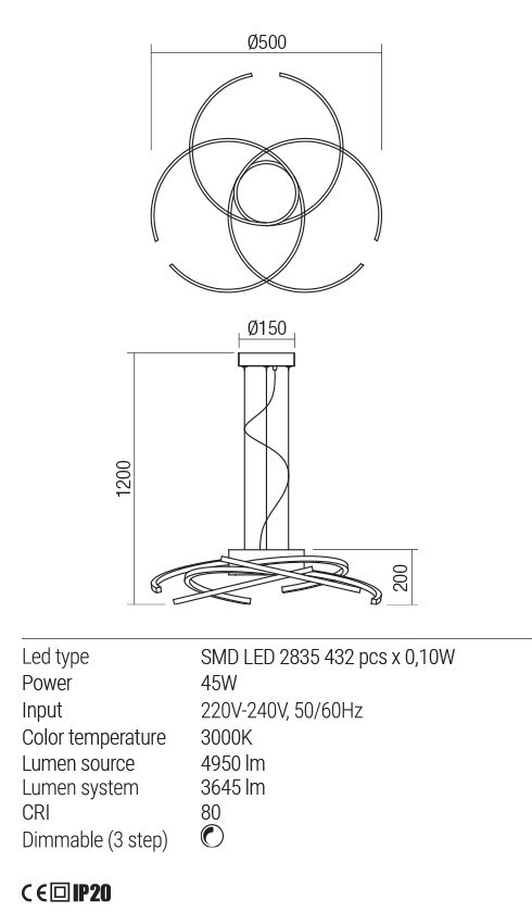Redo 01-1803 ALIEN LED függeszték lámpa