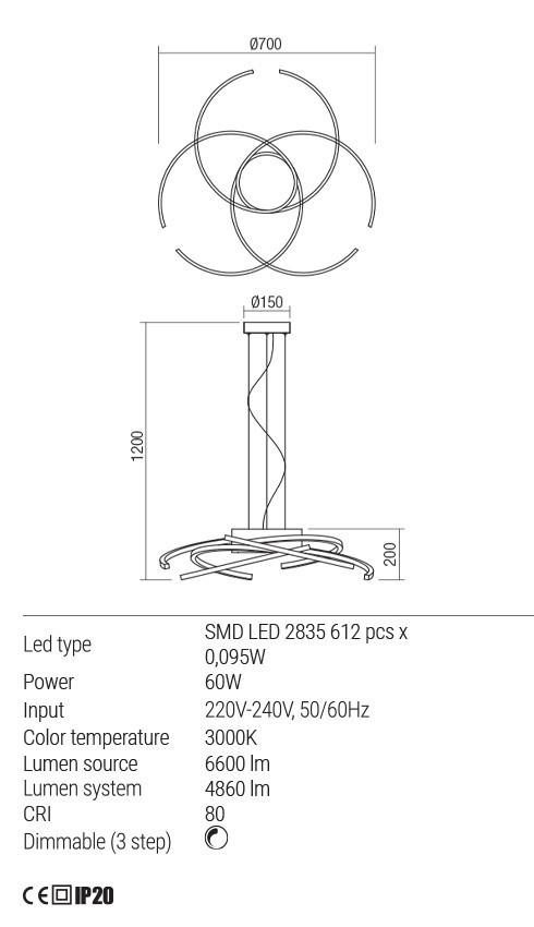 Redo 01-1806 ALIEN LED függeszték
