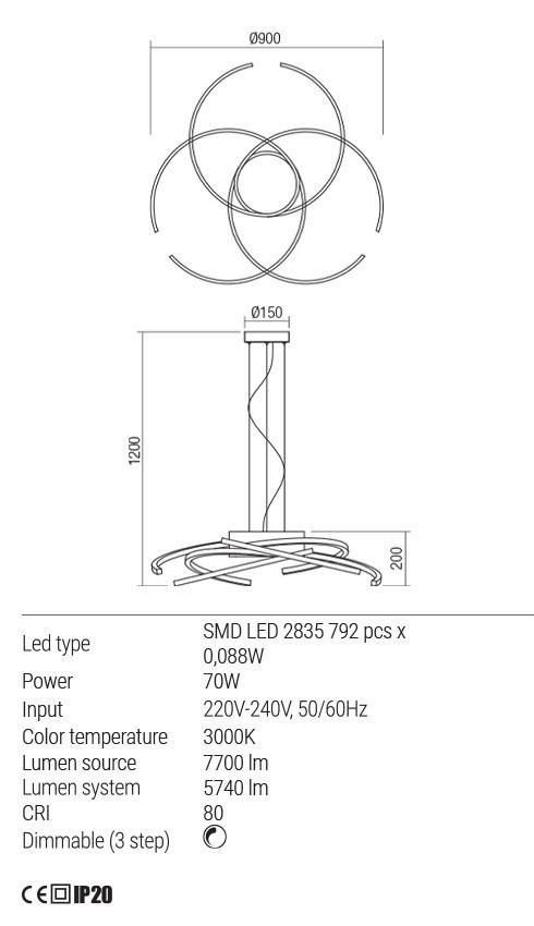Redo 01-1812 ALIEN LED függeszték