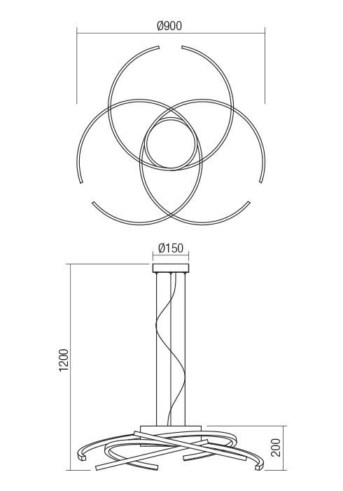 Redo 01-1870 ALIEN LED függeszték