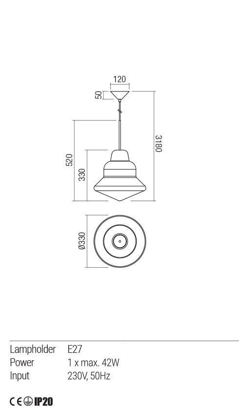 Redo 01-1770 AMNO függeszték lámpa