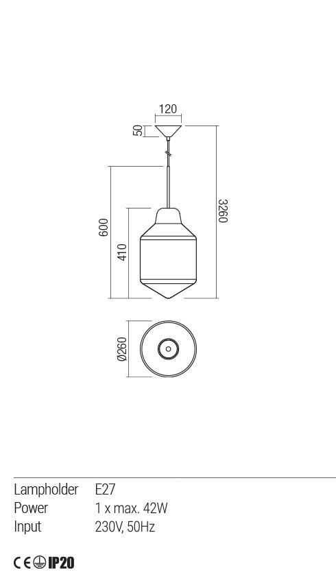 Redo 01-1773 AMNO függeszték lámpa