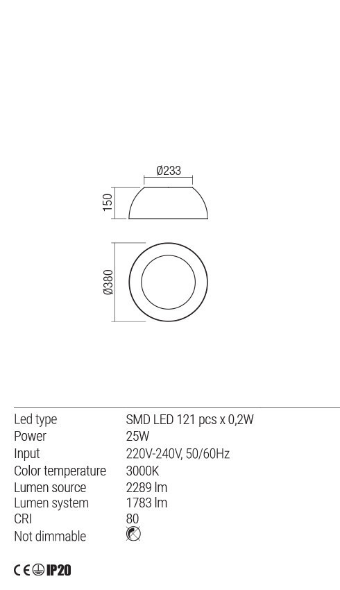 Redo 01-1724 BLAIR LED mennyezeti lámpa