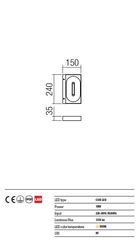 Redo 01-1328 BOARD LED fali lámpa
