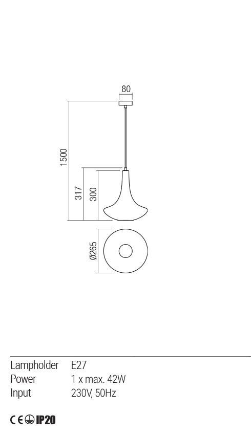 Redo 01-1623 DECANTER lámpa függeszték