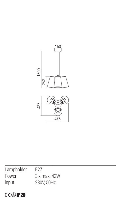 Redo 01-1488 DIA lámpa függeszték
