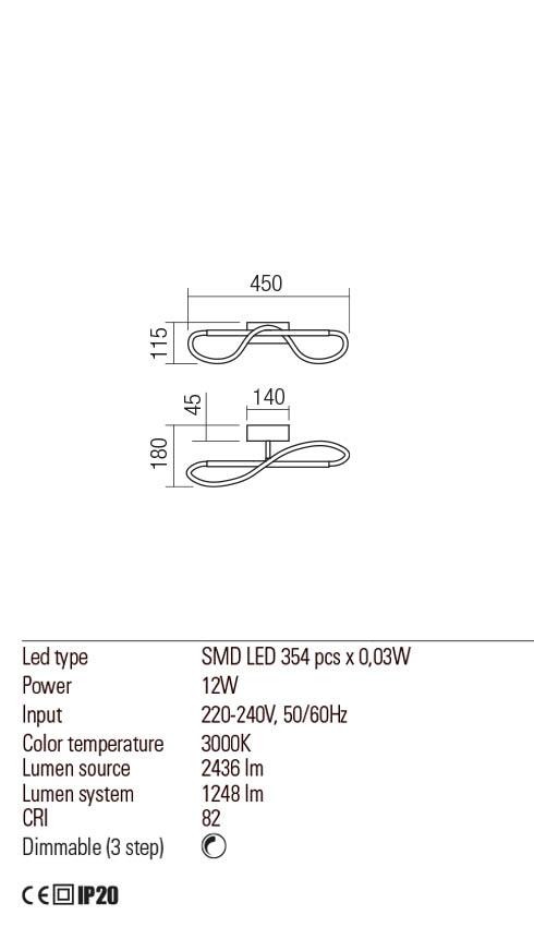 Redo 01-2109 CORRAL LED fali lámpa