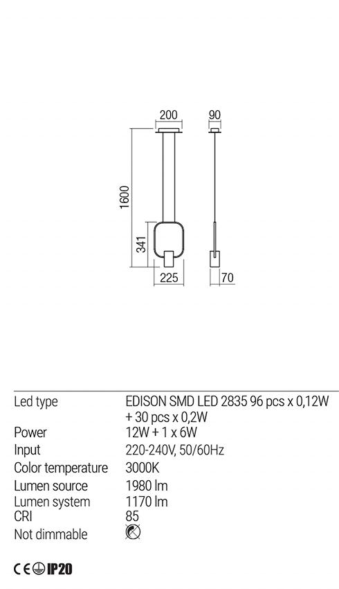 Redo 01-1502 DOM LED lámpa függeszték