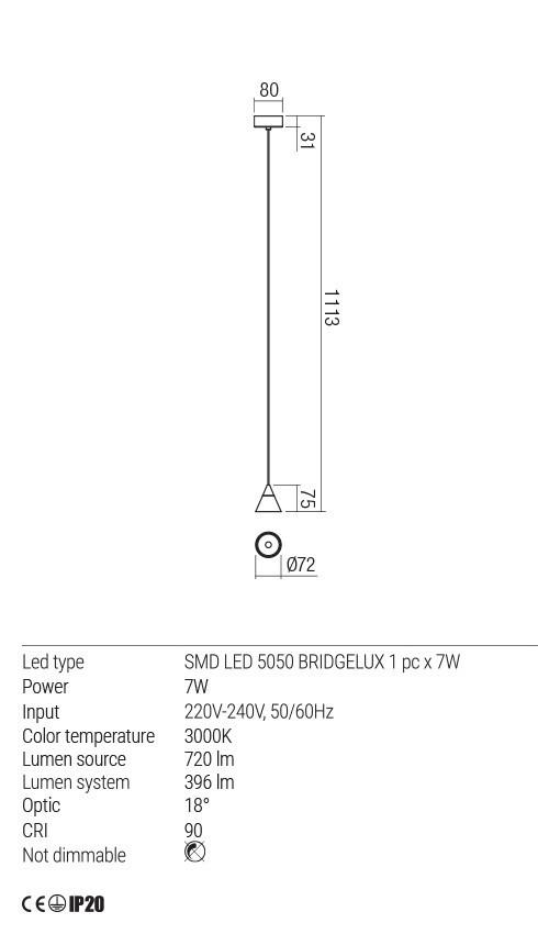 Redo 01-1752 EIKO LED lámpa függeszték