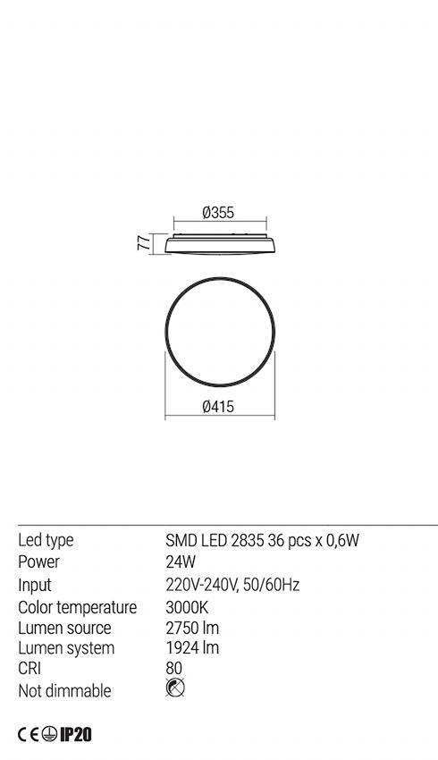 Redo 01-1680 ERIE LED mennyezeti lámpa