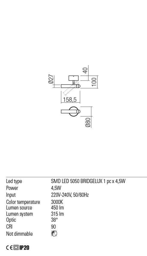 Redo 01-2178 FERRO LED fali lámpa