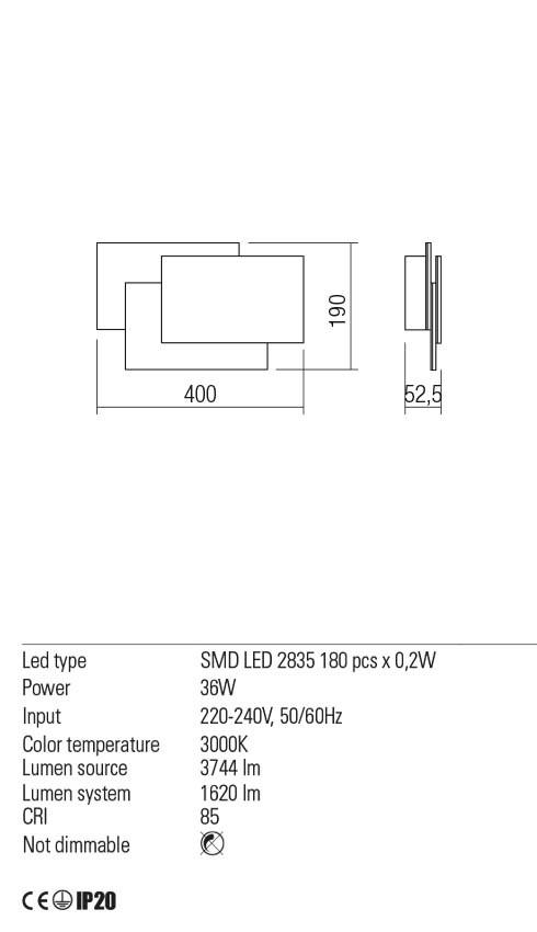 Redo 01-2296 GAMER LED fali lámpa