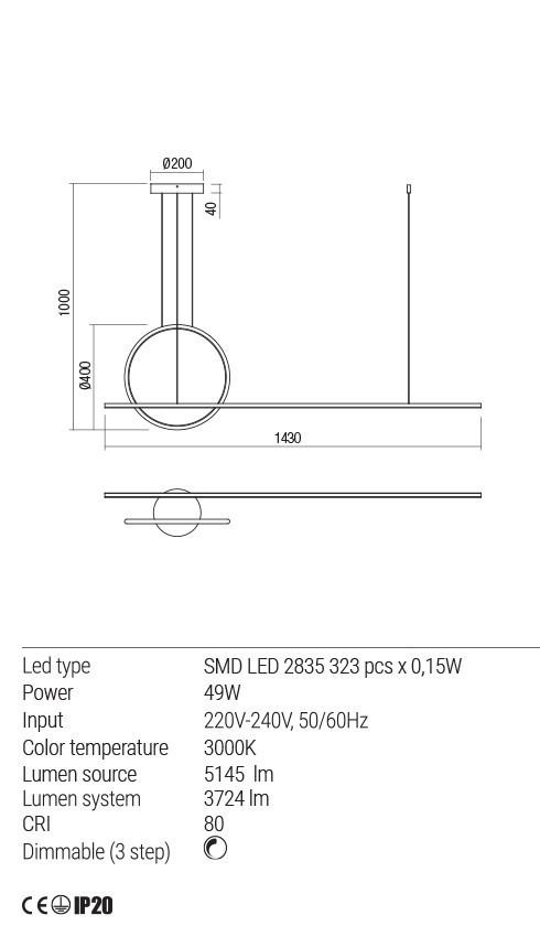 Redo 01-1734 GIOTTO LED lámpa függeszték