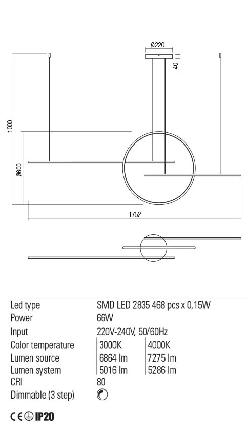 Redo 01-1850 GIOTTO LED lámpa függeszték
