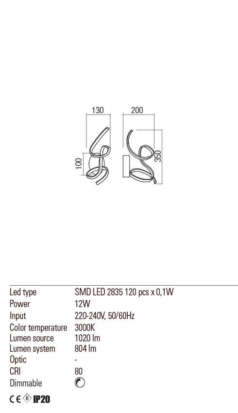 Redo 01-2103 GODART LED fali lámpa