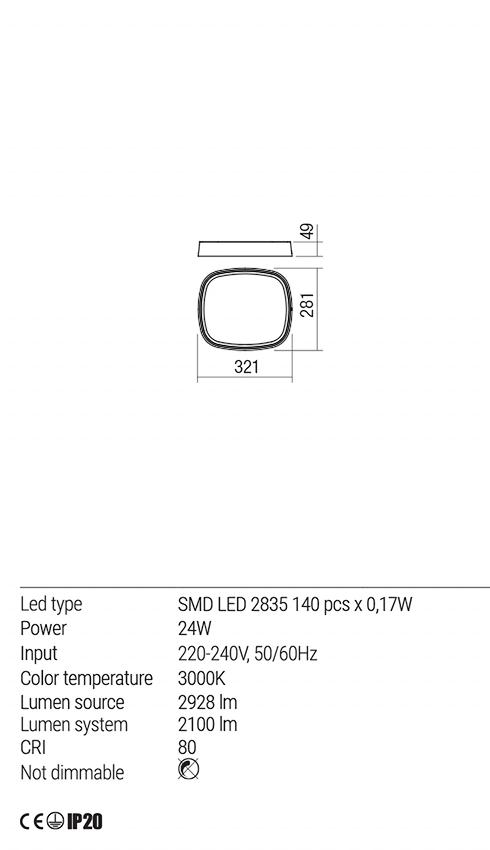 Redo 01-1684 HURON LED mennyezeti lámpa